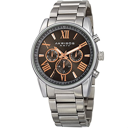 Akribos XXIV Men's Swiss Quartz Multi-Function Accented Sunray Dial with Stainless Steel Bracelet Watch (Gray)