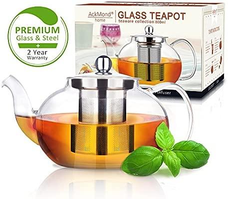 AckMond 800 ml Tetera de Cristal Transparente con infusor de Acero Inoxidable Resistente al Calor