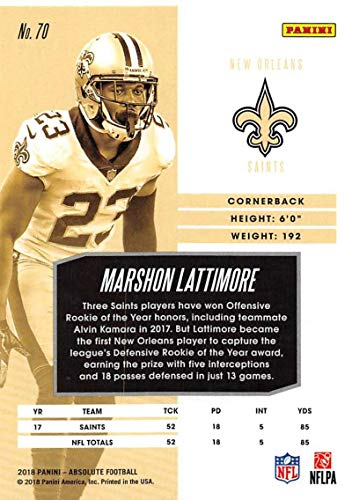 Amazon.com  2018 Absolute Football  70 Marshon Lattimore New Orleans Saints  Official NFL Trading Card made by Panini  Collectibles   Fine Art 0bd3a5fe8