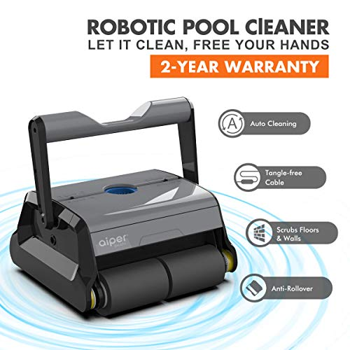 AIPER Automatic Robotic Pool Cleaner with Tangle-Free Swivel Cord and Extra-Large Top Load Filter Basket, Anti-Rollover Swimming Pool Cleaner, Good for In-ground Swimming Pools up to 50 Feet.