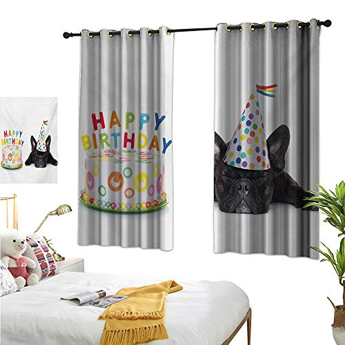 Kids Birthday Decorative Curtains for Living Room Sleepy French Bulldog Party Cake with Candles Cone Hat Celebration Image W55 x L39,Suitable for Bedroom Living Room Study, etc.