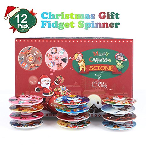SCIONE Christmas Day Fidget Spinner 12 Pack ADHD Stress Relief Anxiety Toy Best Autism Hand spin for Adults Children Finger Toy with Bearing by SCIONE