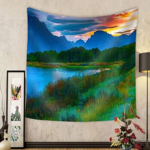 Gzhihine Custom tapestry Amazing Sunset over Grand Tetons Taken from the Oxbow Bend Turnout - Fabric Wall Tapestry Home - Map Bend Willow