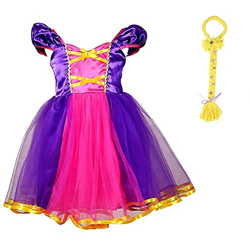 AQTOPS Princess Girls Dress Up Costumes Role Play Outfits with Wig Large -