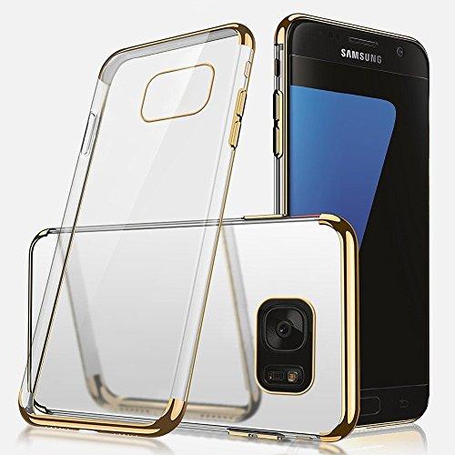 Galaxy S7 Edge Hülle,Galaxy S7 Edge Silikon Hülle,SainCat Plating TPU Handyhülle mit Überzug Farbig Rahmen Transparent Zurück Ultra dünne Crystal Clear TPU Durchsichtige Schutzhülle Durchsichtig Handy Gold