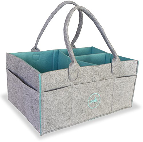 Diaper Caddy Organizer by Ooki Baby - Large and Sturdy Nursery Basket for Boys and Girls - Portable Car Seat Travel Tote with Removable Dividers for Kid Supplies - Storage Bin for Changing Table