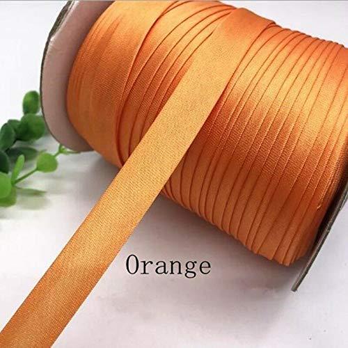 - 15mm Width Satin Edge Strip Cloth Cheongsam Clothes Color Brocade Ribbon DIY (Color - Orange)