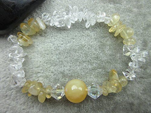 Genuine Honey Calcite, Citrine and Quartz Healing Bracelet Stamina Prosperity