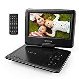 Portable DVD Player 9'' with 5 Hours Rechargeable Battery by SPACEKEY, Swivel Screen, Support USB/SD Slot and 1.8M Car Charger, Support Memory and Region Free (Black)