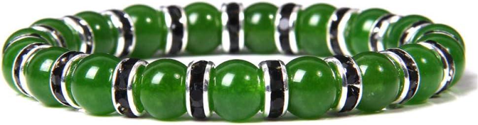 ADGJL Pulsera De Piedra Mujer,7 Chakra Cuentas De Piedra Natural Brazalete Verde Jaspe Pulsera Elástica Plata Negro Aro Joyería para Hombres Señoras