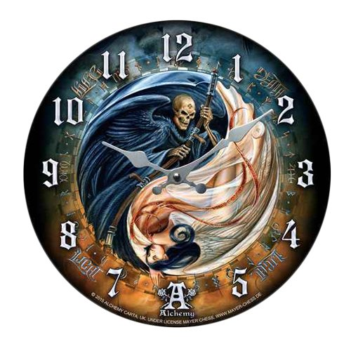 Versus Doctrinus Grim Reaper & Angel Life & Death Wall Clock By Alchemy Gothic Round Plate 13.5