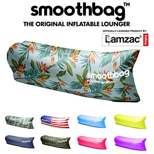 SmoothBag Premium Inflatable Lounger Sofa | Banana Chair Hammock for Camping, Hiking, Festivals, Lounging | Lazybag, Lamzac, Vansky Style Lounging Couch, Chair and Air Chaise Lounge (Tropic) ()