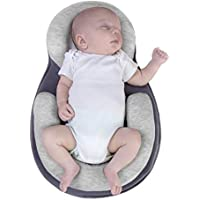 Baby Positioning Pillow Baby Stereotype Pad Prevention and Correction Flat Head Cotton Head Shaping Mattress Cushion Portable Baby Crib Infant Anti-Rollover Nursery for 0-12 Month Baby (Grey)