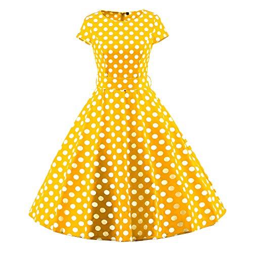 VKStar - Vestido - Noche - Lunares - Cuello Redondo - Manga Corta - para Mujer Amarillo