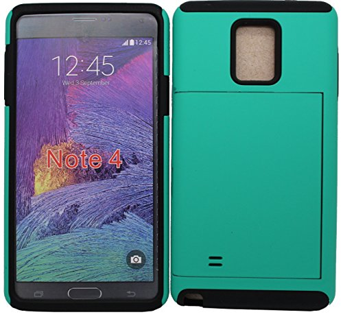 iViva present Samsung Galaxy Note 4 Hybrid Rugged Heavy Duty Dual Layer Credit Card Slot Holder Case + A Clear LCD Screen Protector (Black on Teal)