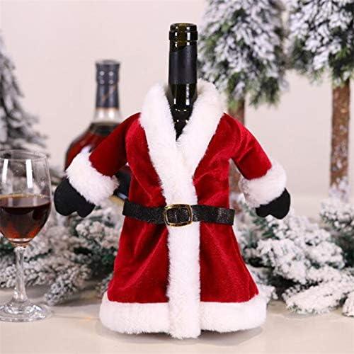 CAVIVI Weihnachten Weinflasche Covers Rotwein Kleid Rock Weihnachten Esstisch Set Flasche Dekoration für Weihnachtsschmuck...