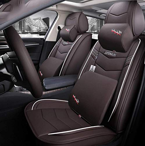Easy To Clean Pu Leather Car Seat Cushions 5 Seats Full Set - Universal Fit Cover Anti-Slip Suede Backing Adjustable Bench For 99% Types Of Cars,Brown: