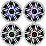 2- Pair (4-Speakers) Multi Color LED Lights Kicker 6.5 195W Marine Audio Coaxial Stereo White Grills