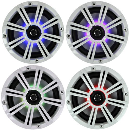 Stereo Kicker Speakers - 2- Pair (4-Speakers) Multi Color LED Lights Kicker 6.5