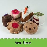 Felt Food Tea Set, Cookies, Petit Fours, Carrot Cake, Chocolate chip, Raspberry