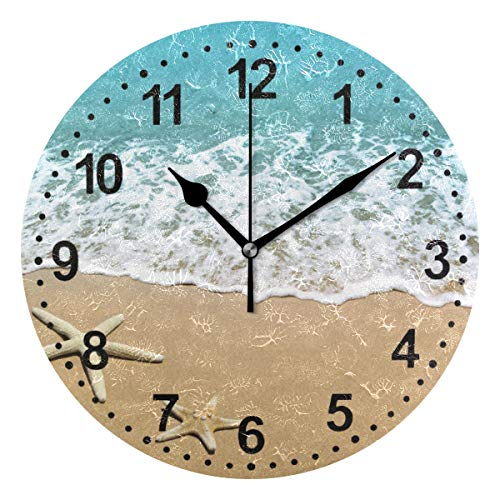 Kitchen Clock Starfish Decorative Wall Clock Non-Ticking Silent Outdoor Patio Clock for Home ()