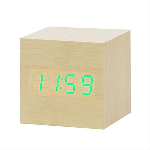AMZIJ Relojes Reloj Despertador Rojo Reloj de Madera Mesa Control ...