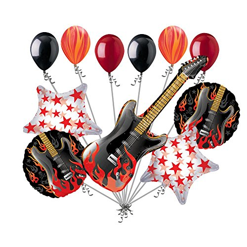 11 pc Rockstar Rock On Happy Birthday Balloon Bouquet Flaming Electric Guitar (Rockstar Birthdays)