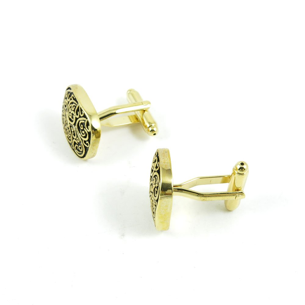 50 Pairs Cufflinks Cuff Links Fashion Mens Boys Jewelry Wedding Party Favors Gift OEO028 Golden Roman Pattern