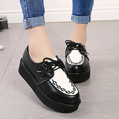 Chnhira Scarpe Da Donna Creeper Platform Stringate Goth Punk Zeppa Fashion Sneaker Nero-bianco