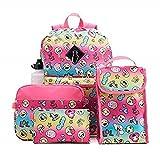 Emoji Girls 6pc Backpack & Accessories School Set Kids Backpack, Lunch Bag, Tablet Case, Pencil Case & Water Bottle Set