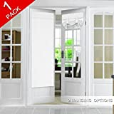 Room Darkening French Door Curtain for Tricia Window Door, Pure White Curtain Rod Pocket Thermal Insulated Energy Saving Curtain/Drape/Drapery, Single Panel, 26 x 68 Inches