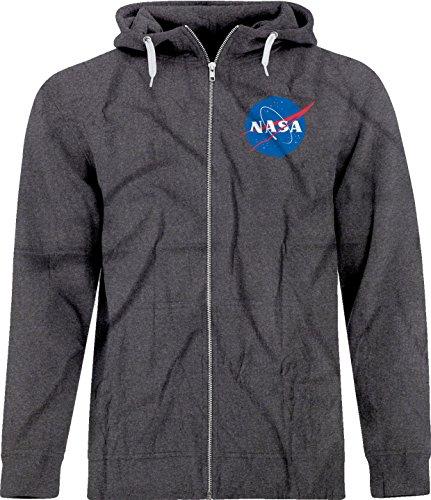 BSW Unisex NASA Space Astronomy Crest Zip Hoodie SM Dark Heather (Retro Hoody Zip Womens)