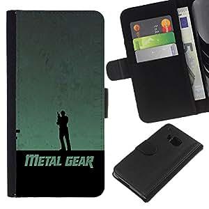"""JackGot ( Metal Gear"""" ) HTC One M9 la tarjeta de Crédito Slots PU Funda de cuero Monedero caso cubierta de piel"""