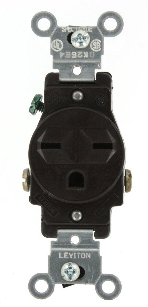 Leviton 5029-W 15-Amp, 250-Volt, Narrow Body Single Receptacle, Straight Blade, Commercial Grade, Grounding, White