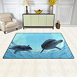 DEYYA Non-slip Area Rugs Home Decor, Dolphins Floor Mat Living Room Bedroom Carpets Doormats 60 x 39 inches