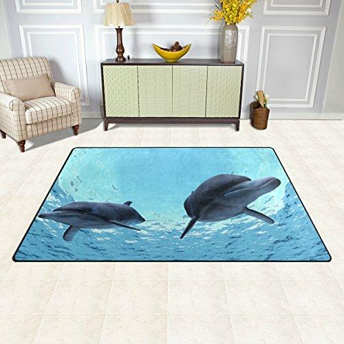 DEYYA Non-slip Area Rugs Home Decor, Dolphins Floor Mat Living Room Bedroom Carpets Doormats 60 x 39 inches