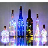 6 Pack 20-LEDS Spark Wine Bottle Light, Cork Shape Battery Copper Wire String Lights for Bottle DIY, Christmas, Wedding and Party Décor (Colorful)