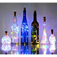 6 Pack 20-LEDS Spark Wine Bottle Light, Cork Shape Battery Copper Wire String Lights for Bottle DIY, Christmas, Wedding and Party Décor - Multicolour