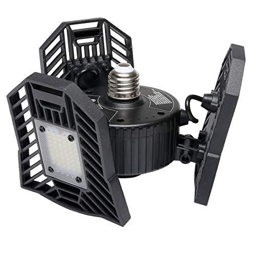 Garage Light, 60W LED Shop Light, 6000 Lumen Deformable Garage Lighting with 3 Adjustable Panels, Ceiling Lights for Garage Basement Workshop Warehouse Etc.