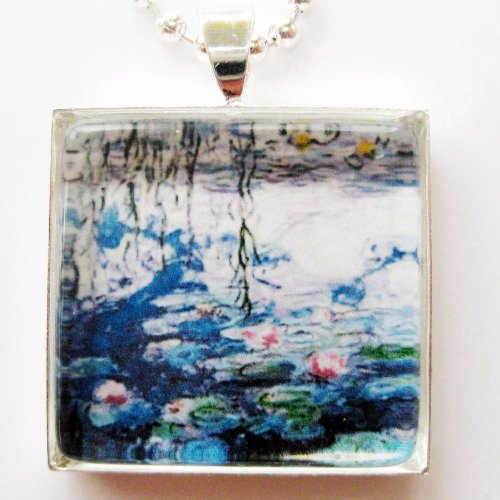 Water Lillies by Claude Monet Glass Tile Pendant necklace