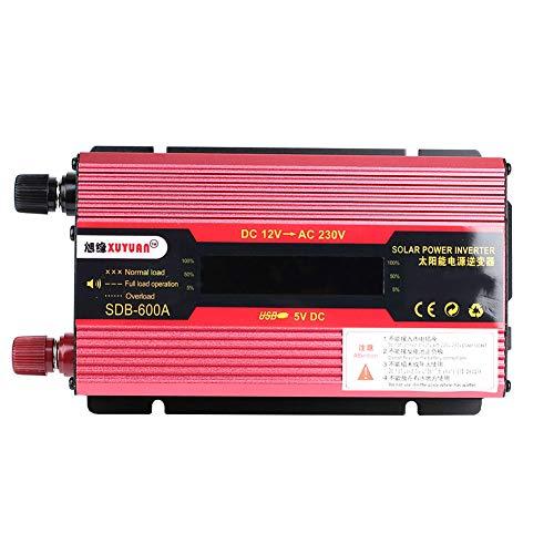MINBB Car Inverter Solar Power Inverter Auto Inverter 2000W Peak DC12V to AC110V/220V Modified Sine Wave Converter with Digital Display USB ()