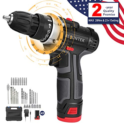 Cordless Drill Driver,12.8V 28Nm Compact Electric Drill Cordless Set, 2 Batteries 3900mAh, 25 1 Torque Setting,2-Speed Trigger Built-in LED,1 2in Chuck,1h Fast Charger Carrying Case 31 Accessories
