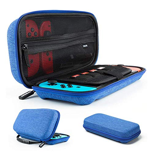 LUNGEAR Carrying Case Compatible for Nintendo Switch with 10 Game Cartridge Holders, Protective Hard Shell Travel Carrying Case Pouch for Nintendo Switch Console & Accessories, Blue