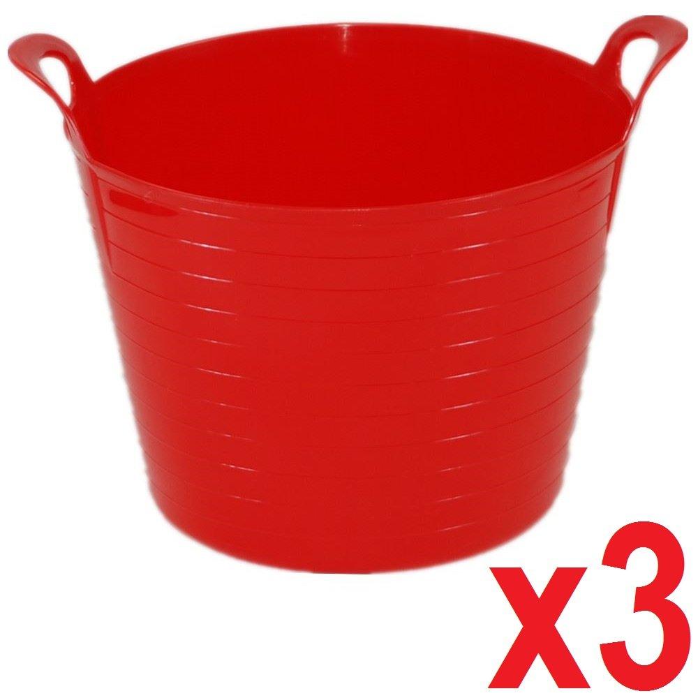 3 x 14 Litre Flexi Tub Garden Home Flexible Colour Rubber Storage Container Bucket Polyethylene Flex Tub- MADE IN U.K. (Sky Blue) UK