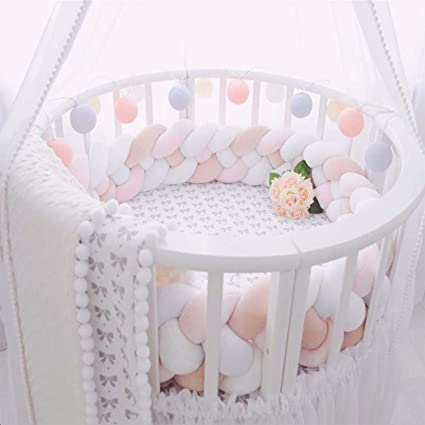 Pink + White + Gray Babys Room Decoration - 59//1.5M Braided Baby Crib Bumper Digead Plush Knot Pillow