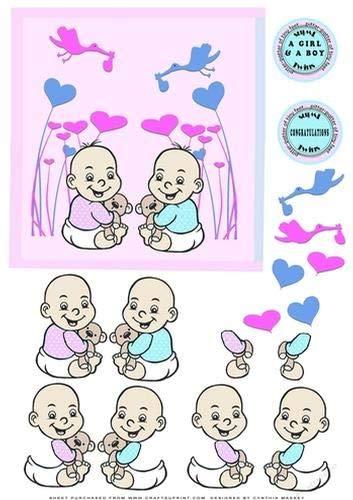 Twins a Boy and a Girl Congratulations decoupage by Cynthia Massey