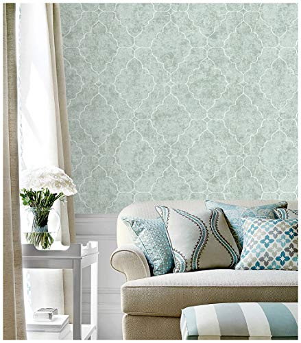 "HaokHome 901502 Graphic Trellis Wallpaper Smoke Green/White/Lt.Gold for Home Bathroom Kitchen Accent Wall 20.8""x 33ft"