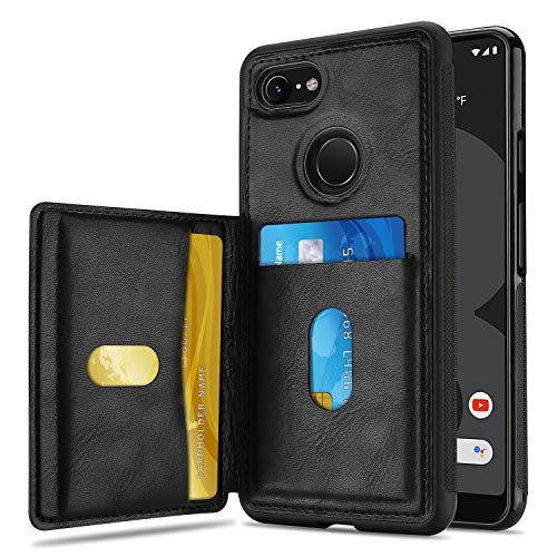 ProCase Wallet Case for Google Pixel 3 XL, Slim Flip Kickstand Leather Case Minimalist Hybrid Stand Protective Back Cover with Two Card Slots Holder for Google Pixel 3 XL 6.3 Inch 2018 Release –Blac