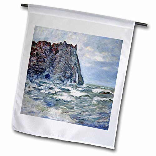 Rough 1883 (3dRose FabPeople - Claude Monet Portraits - Port d Aval, Rough Sea, Claude Monet Painting 1883, PD-US - 12 x 18 inch Garden Flag (fl_179239_1))