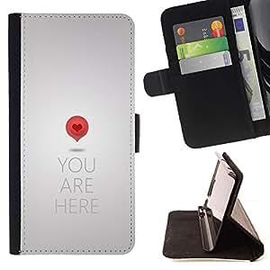 For Apple iPhone 5C Case , Corazón Love Metal Gris Cita- la tarjeta de Crédito Slots PU Funda de cuero Monedero caso cubierta de piel